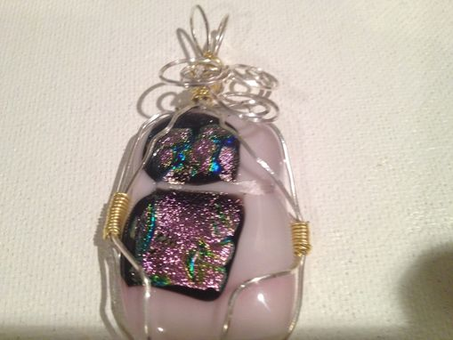 Custom Made Wire Wrapped Fused Dichroic Glass Pendant