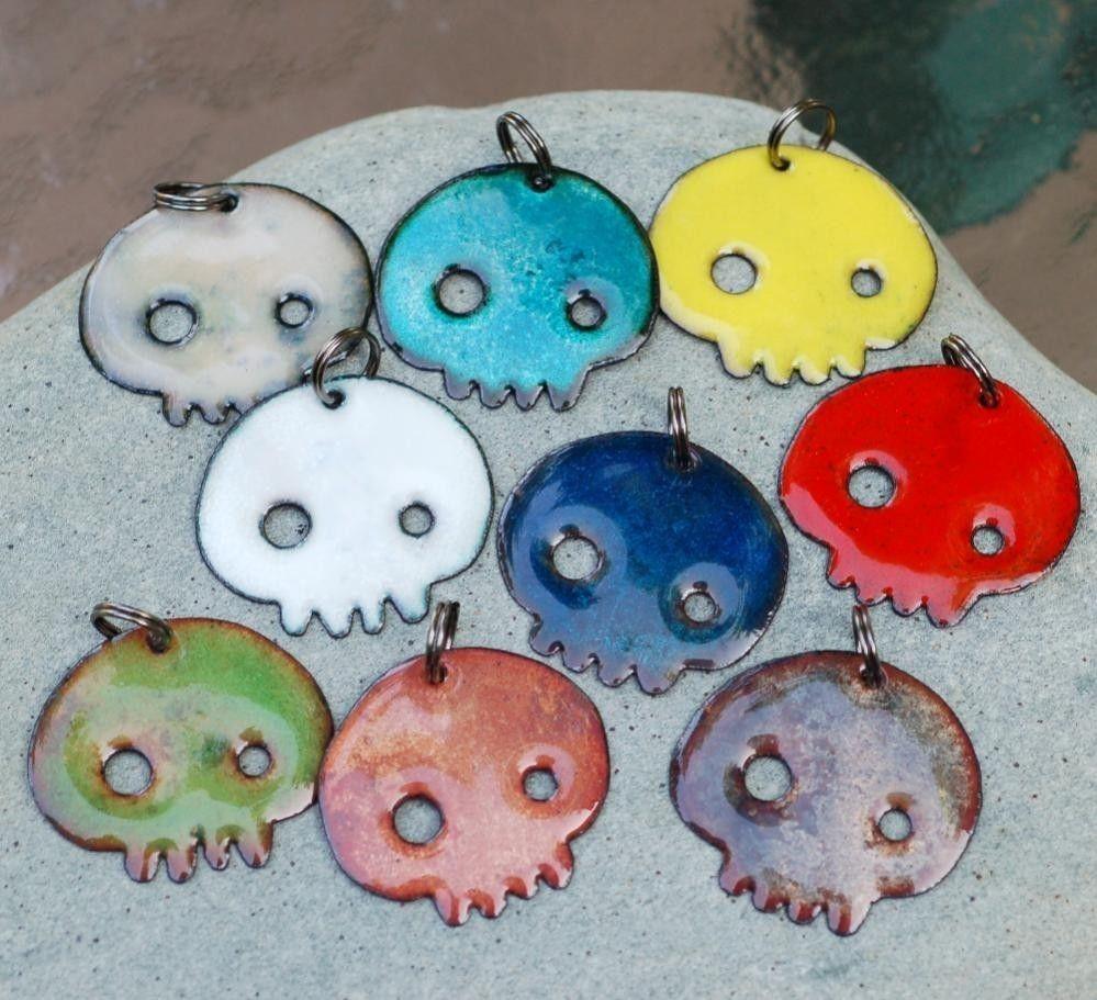 Hand Crafted Enamel House Necklace Pendant Copper Home: Hand Made Skull Necklace Pendant, Copper Enamel, Enameled