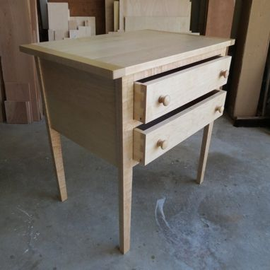 Custom Made Shaker Style Two Drawer Table In Maple