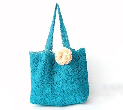 Custom Made Cyan Crochet Handbag - Handmade