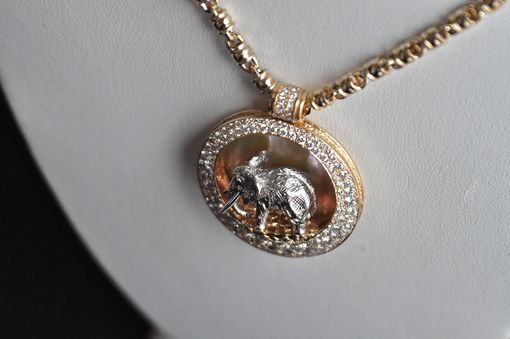 Custom Made Elephant Pendant / Diamonds / Gold / Mother Of Pearl