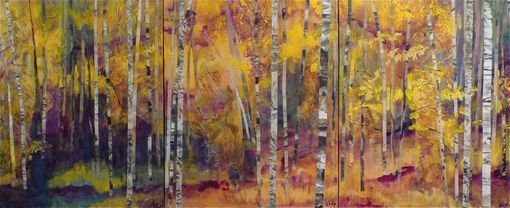 Custom Made Autumn Aspens--Mixed-Media Painting