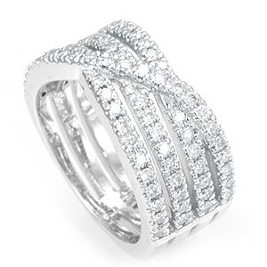 Custom Made Diamond Ladies Wide Ring In 14k White Gold, Ladies Ring, Wide Ring
