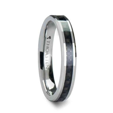 Custom Made Maximus Tungsten Carbide Wedding Ring With Black Carbon Fiber Inlay - 4mm - 12mm