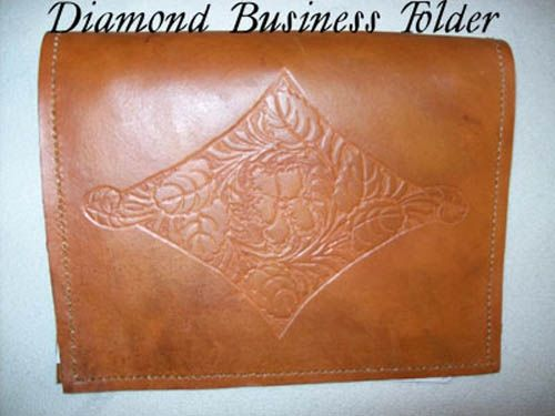 Custom Made Custom Leather Portfolio With Diamond Sheridan Design In Canyon Tan