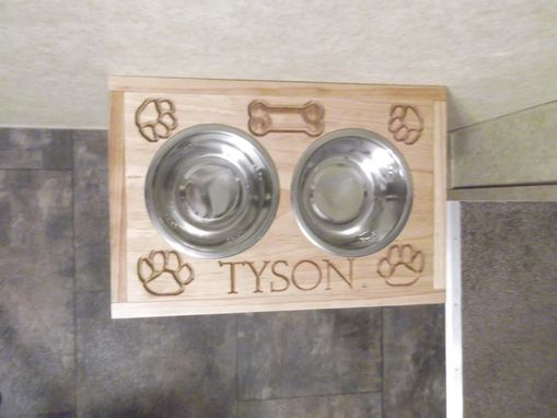 Custom Made Custom Carved Dog Bowl Holder