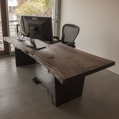Custom live edge black walnut slab desk by taylor donsker for Woodworks design office 8