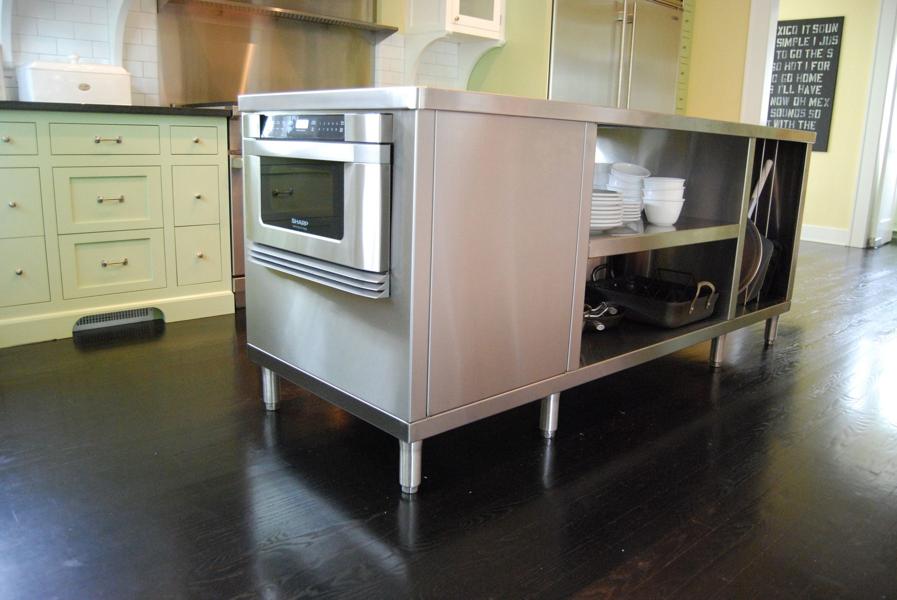 Hand crafted stainless steel kitchen islands by custom for Custom made kitchen islands