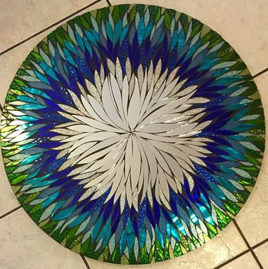 Custom Made 24 In. Any Color- 4 Week Lead Time Floral Handmade Glass Mosaic Mirror