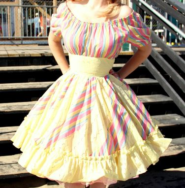 Custom Made Vintage 1950s Square Dance Dress Summer Pastels In Eyelet And Rainbow Cotton With Pockets