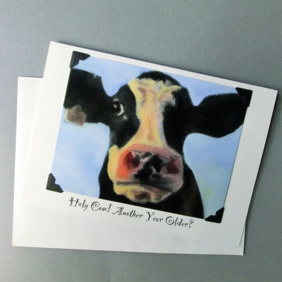 Handmade Funny Birthday Card Cow Birthday Card Funny Animal