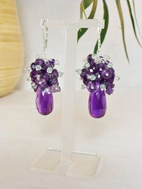 Custom Made Gemstone Cluster Aaa Purple Amethyst Briolette With Purple And Pale Green Amethyst Earrings