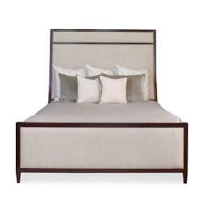 Custom Made Upholstered Bed With Wood Trim Ii