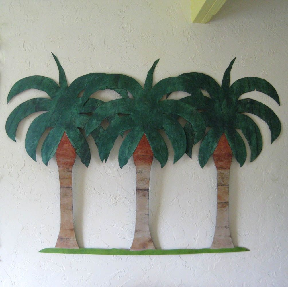 Hand Crafted Handmade Upcycled Metal Extra Large Palm Tree Wall Art