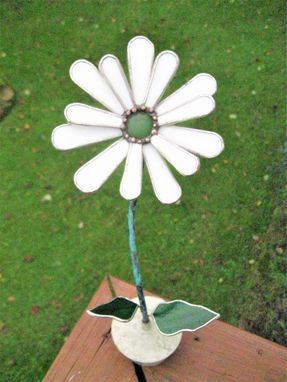 Custom Made Gerbera Daisy In Snowy White  Stained Glass