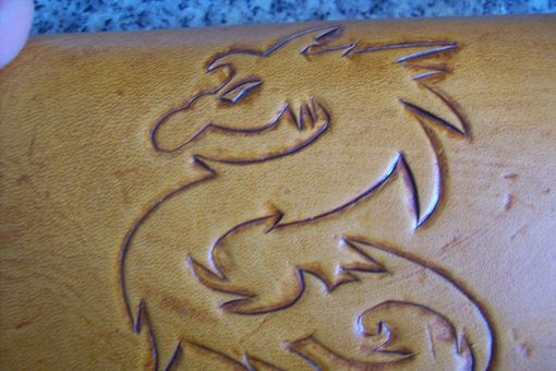 Custom Made Custom Leather Biker Wallet With Dragon Design In Saddle Stain