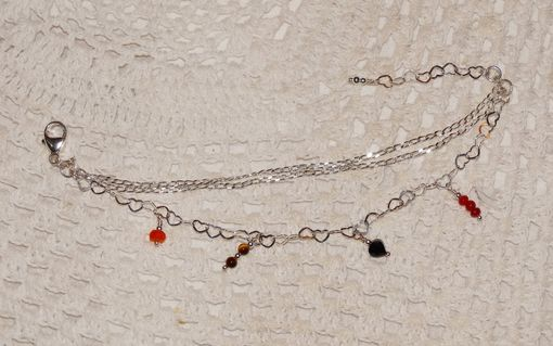 Custom Made Three Strand Chain Charm Bracelet With Birthstone Gemstones And Heart Link Chain In Sterling Silver