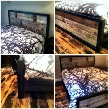 Custom Made Steel And Reclaimed Wood Bed