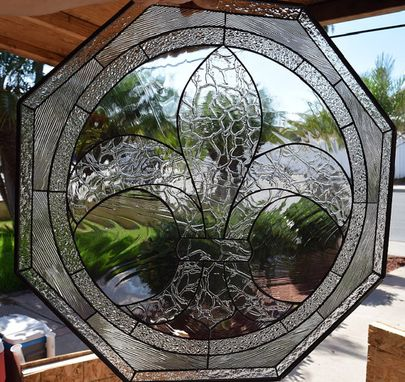 Custom Made Octagonal Classic & Elegant Fleur De Lis Stained Glass Window