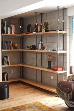 Custom Made Industrial Built-In Bookcases