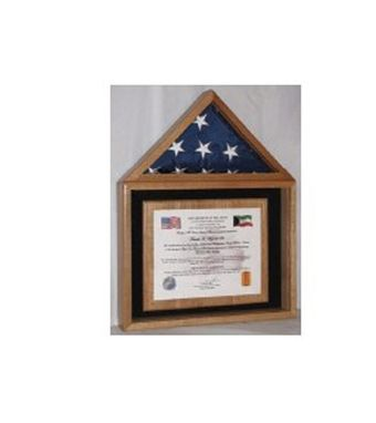 Custom Made Certificate And American Flag Display Case