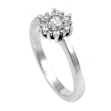 Custom Made Diamond Halo Engagement Ring In 14k White Gold, Proposal Ring, Promise Ring