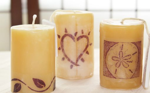 Custom Made Set Of Three Custom Beeswax Pillars , Leaf, Heart, And Sand Dollar