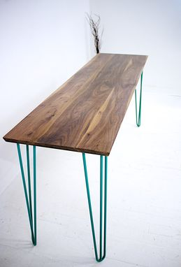 Buy A Custom Made Walnut Console Table Teal Hairpin Legs