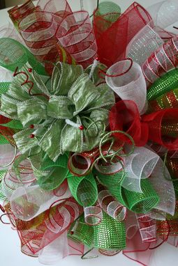 Custom Made Christmas Spiral Mesh Wreath