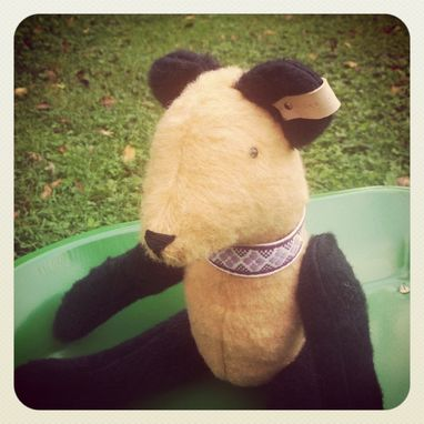 Custom Made Vintage Style Bear Cream And Black/ Embroidered Details /Reworked And Recycled Materials