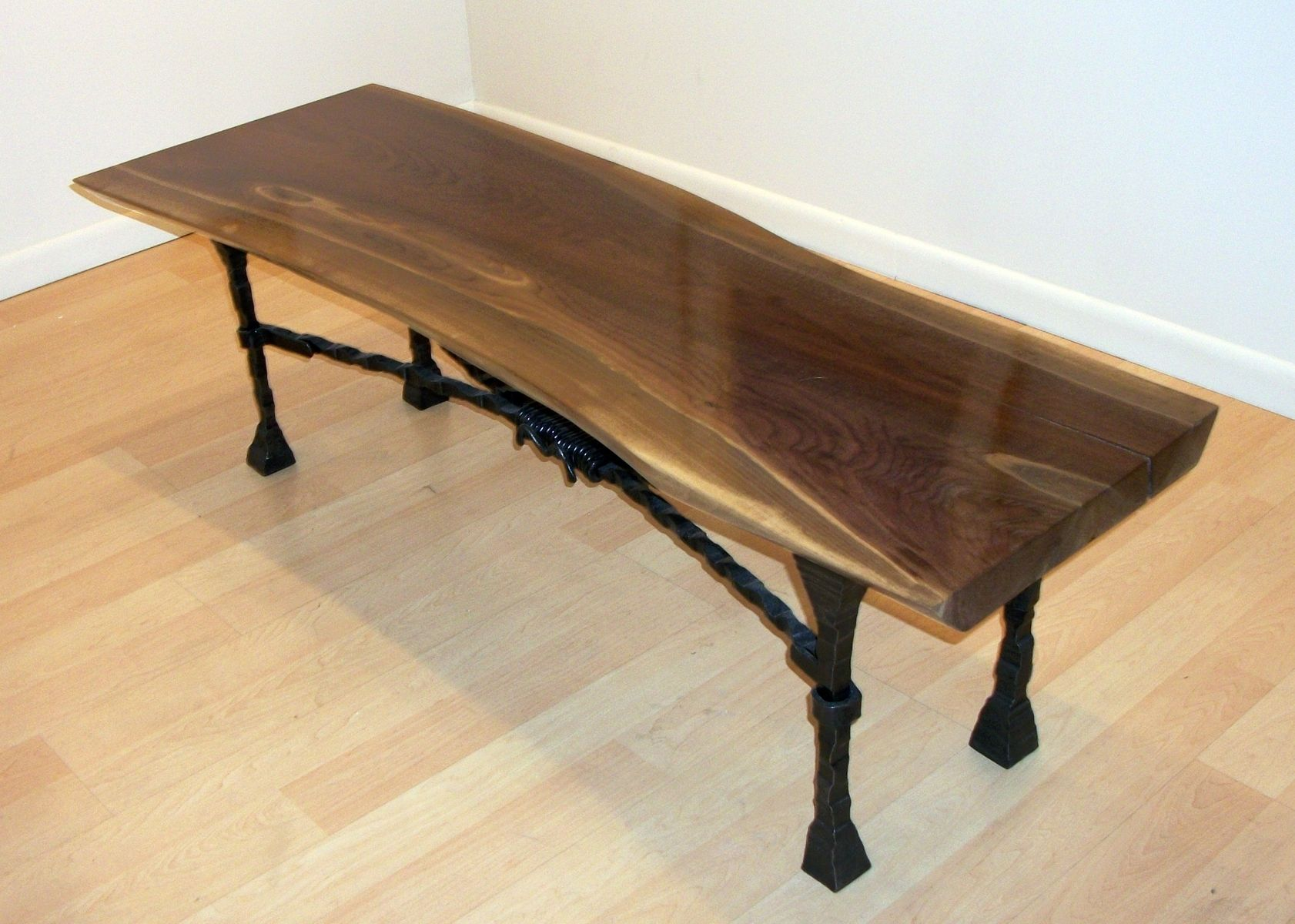Fresh Custom Hand Forged Steel And Walnut Bench\Coffee Table by Donald  AP76