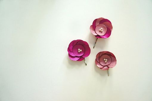 Custom Made Hair Pins With Pink Satin Flower And Pearls
