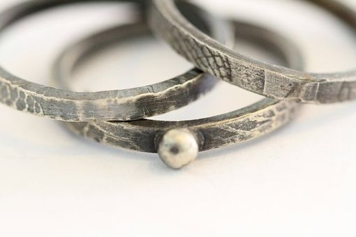 Custom Made Dragon Fly, Cicada Wing Patterned Sterling Silver Stacking Bands