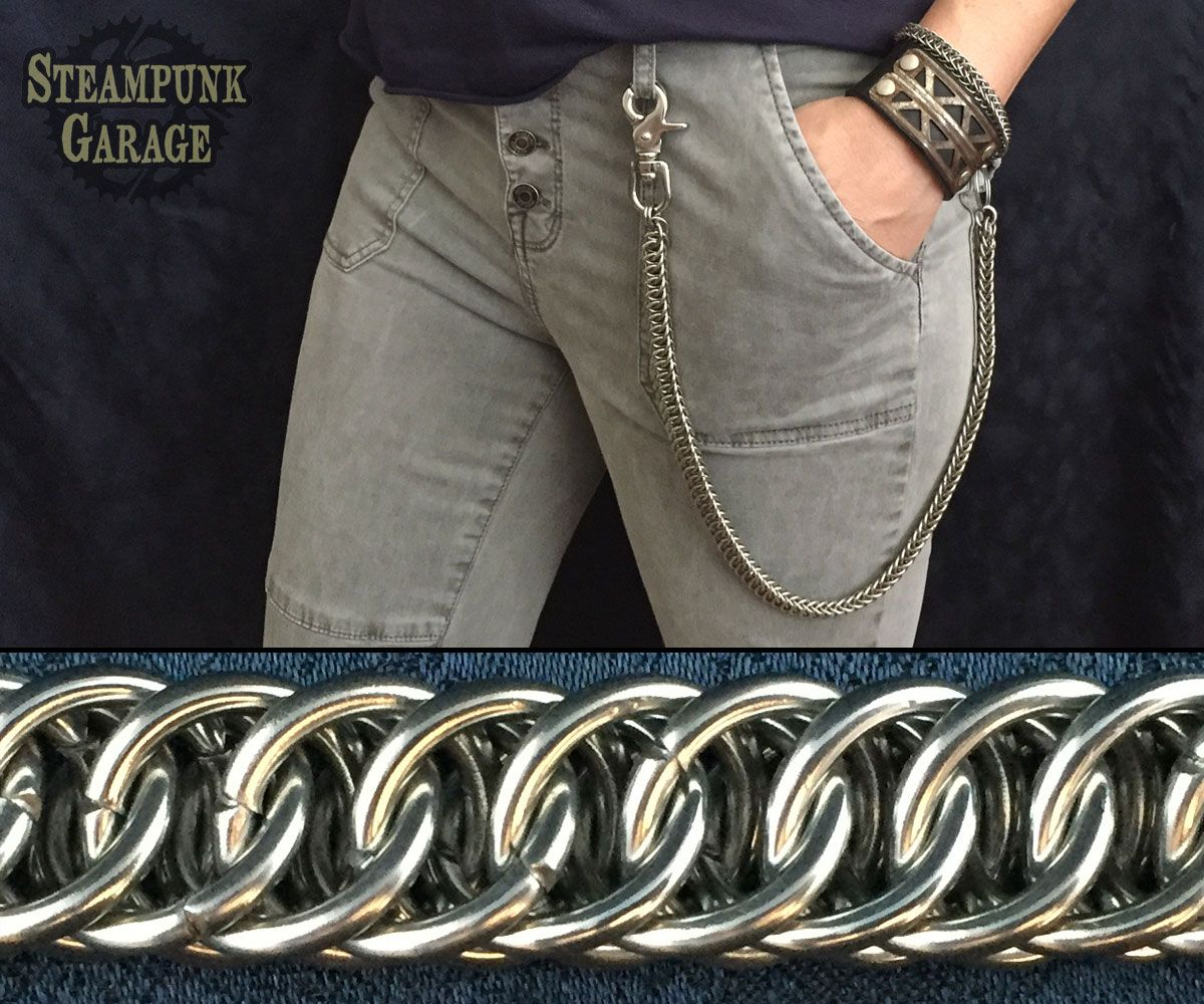 Box Weave 14 Gauge Steel Handcrafted Chainmail Wallet Chain