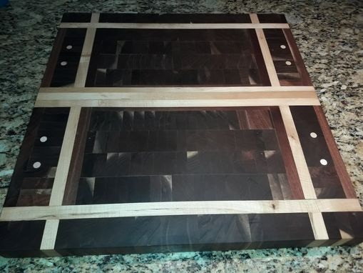 Custom Made End Grain Walnut And Sycamore Cutting Board With Inlay