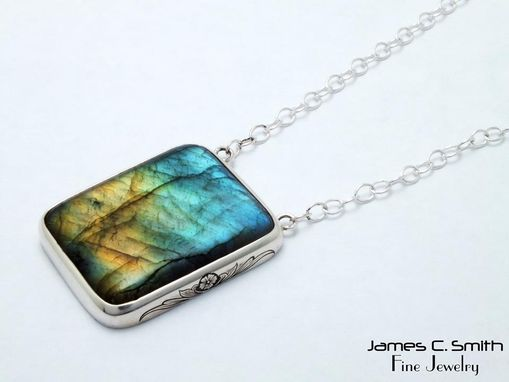 Custom Made Labradorite Pendant W/ Engraving