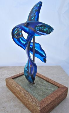 Custom Made Fused Glass Sculpture - Two Azure Dragons -Quinglong