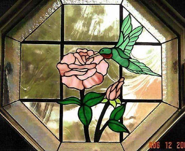 Custom Made Hummingbird And Rose Octagon Insert
