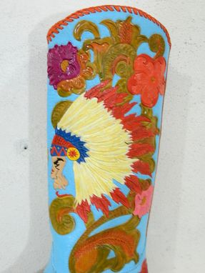 Custom Made Hand Tooled Western Boots Indian Chief Style Made To Your Size In Genuine Leather
