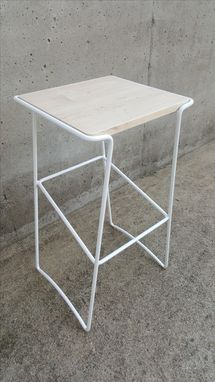 Custom Made Contemporary Metal + Wood Bar Stool