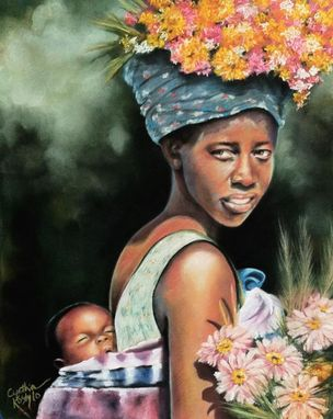 Custom Made Pastel Portrait For Sale- Mama And Baby