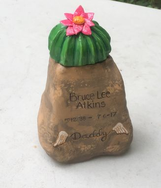 Custom Made Rock Urn With Cactus Flower
