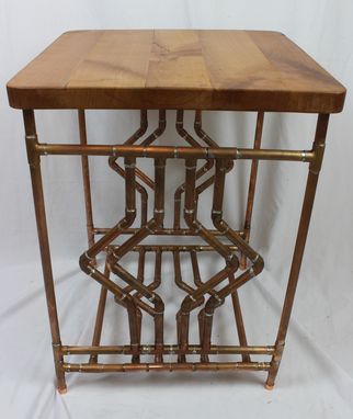 Custom Made Diamond Deco Cherry & Copper Pipe End Table