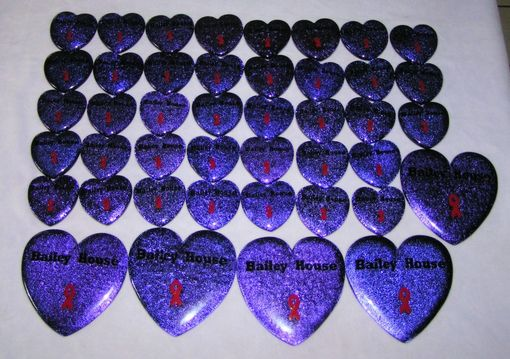 Custom Made 40-50 Purple Glass Hearts With Red Ribbon