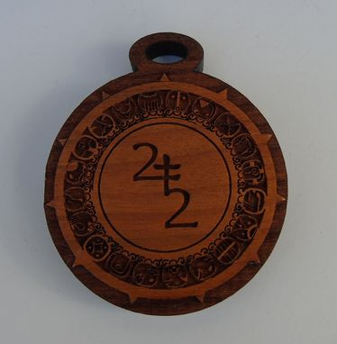Custom Made Laser Etched Cherry Wood Pendant