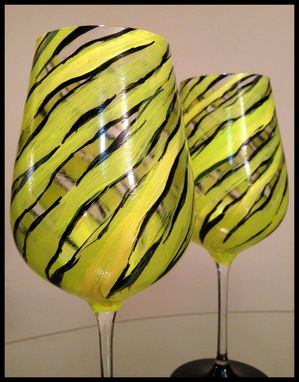Custom Made Hand Painted Wine Glasses. Bright Spring Zebra Design. Lenox Crystal Glassware