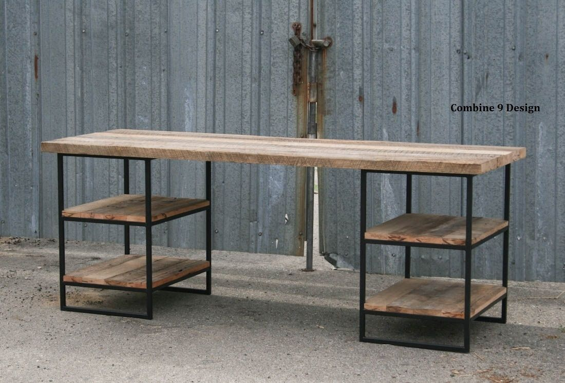 Custom Made Reclaimed Wood Desk Oak With Shelves Steel