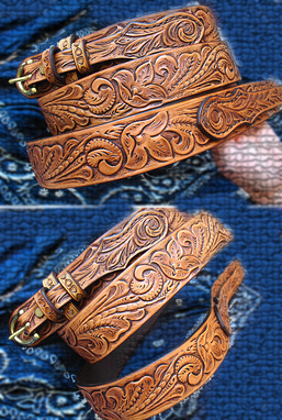 Buy A Custom Made Tooled Ranger Gun Belt Floral Sheridan