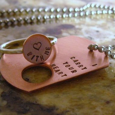 Custom Made I Carry Your Heart. Copper Dog Tag And Sterling Silver Ring (Intertwine)
