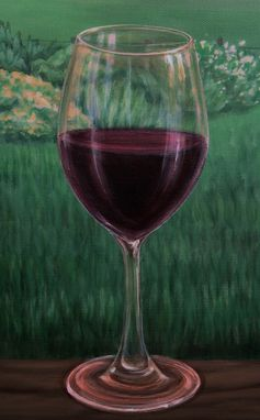 Custom Made Glass Of Wine By Landscape Painting